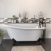 67'' White Cast Iron Slipper Clawfoot Bathtub with 7'' Deck Mount Faucet Drillings and Complete Oil Rubbed Bronze Plumbing Package, Deckmount British Telephone Faucet & Hand Held Shower with 6'' Risers