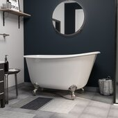 58'' White Cast-Iron Swedish Slipper Clawfoot Bathtub without Faucet Holes, Brushed Nickel