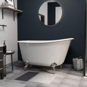 54'' White Cast-Iron Swedish Slipper Clawfoot Bathtub without Faucet Holes, Polished Chrome