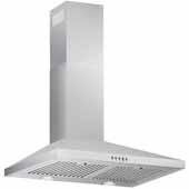 30'' Wall Mounted Range Hood In Stainless Steel, 400 CFM, 29-3/8''W x 18-7/8''D x 36-5/16''H