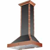 30'' Copper Finshed Stainless Steel, Wall-Mounted, Artisan Chimney Range Hood, 900 CFM, 29-1/2''W x 17-3/4''D x 49-5/8''H