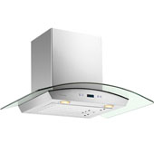 -Euro SV218D 30'' Stainless Steel Wall Mount Range Hood with Tempered Glass Canopy, 900 CFM