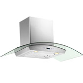 -Euro SV218D 36'' Stainless Steel Wall Mount Range Hood with Tempered Glass Canopy, 900 CFM