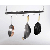 Dual Track Ceiling Mounted 36'' Kitchen Pot Rack, Grey