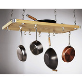 Rectangular Ceiling Pot Rack in Natural Wood