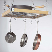 : Natural Wood Ceiling Mounted ''Square'' Pot Racks, Natural Wood Finish