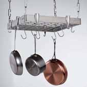 Stainless Steel Square Ceiling Hanging Pot Rack with Grid, 19-1/2'' W x 18-1/2'' D x 2''H