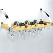 Interchangeable Wall/Ceiling Wine Rack, 8 Bottle/12 Glass Capacity, 30'' W x 12'' D, Natural/Chrome Finish
