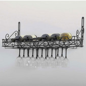 Black Metal Bottle & Glass Wall Wine Rack, 31''W x 12''D x 10''H