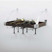 Interchangeable Wall/Ceiling Wine Rack, 6 Bottle/9 Glass Capacity, 24'' W x 12-1/4'' D x 9-3/4'' H, Espresso/Chrome Finish