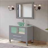 36'' Solid Wood Single Vanity Set in Gray, Tempered Glass Countertop with Glass Bowl Vessel Sink, Polished Chrome Faucet and Wood Trimmed Mirror Included