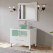 36'' Solid Wood Single Vanity Set in White, Tempered Glass Countertop with Glass Bowl Vessel Sink, Polished Chrome Faucet and Wood Trimmed Mirror Included