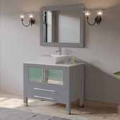 36'' Solid Wood Single Vanity Set in Gray, Pristine White Porcelain Countertop with White Porcelain Vessel Sink, Brushed Nickel Faucet and Wood Trimmed Mirror Included