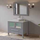 36'' Solid Wood Single Vanity Set in Gray, Pristine White Porcelain Countertop with White Porcelain Vessel Sink, Polished Chrome Faucet and Wood Trimmed Mirror Included