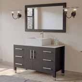 48'' Solid Wood Single Vanity Set in Espresso, White Porcelain Countertop with Square White Porcelain Vessel Sink, Brushed Nickel Faucet and Wood Trimmed Mirror Included
