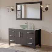 48'' Solid Wood Single Vanity Set in Espresso, Tempered Glass Countertop with Glass Bowl Vessel Sink, Brushed Nickel Faucet and Wood Trimmed Mirror Included