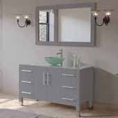 48'' Solid Wood Single Vanity Set in Gray, Tempered Glass Countertop with Glass Bowl Vessel Sink, Brushed Nickel Faucet and Wood Trimmed Mirror Included