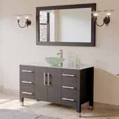 48'' Solid Wood Single Vanity Set in Espresso, Tempered Glass Countertop with Glass Bowl Vessel Sink, Polished Chrome Faucet and Wood Trimmed Mirror Included