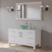48'' Solid Wood Single Vanity Set in White, Tempered Glass Countertop with Glass Bowl Vessel Sink, Brushed Nickel Faucet and Wood Trimmed Mirror Included