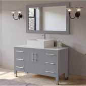 48'' Solid Wood Single Vanity Set in Gray, White Porcelain Countertop with Square White Porcelain Vessel Sink, Polished Chrome Faucet and Wood Trimmed Mirror Included