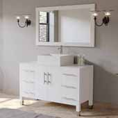 48'' Solid Wood Single Vanity Set in White, White Porcelain Countertop with Square White Porcelain Vessel Sink, Polished Chrome Faucet and Wood Trimmed Mirror Included