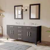 72'' Solid Wood Double Vanity Set in Espresso, White Porcelain Countertop with (2) Basin Sinks and (2) Wood Trimmed Mirrors Included