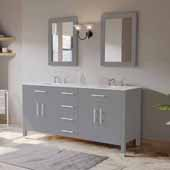 72'' Solid Wood Double Vanity Set in Gray, White Porcelain Countertop with (2) Basin Sinks and (2) Wood Trimmed Mirrors Included