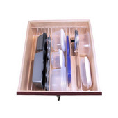 Custom Transparent Adjustable Binning Strip Dividers, Front-to-Back Partitions Run, For Drawer Width 27-1/16'' to 35'', 4 Dividers