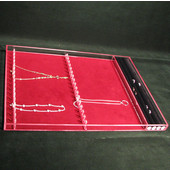 Custom Transparent Jewelry Full Depth Ring & Necklace Insert, Left-to-Right Rack, Burgundy Liner, 24-1/16'' to 30''W, 1-1/2''H
