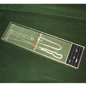 Custom Transparent Jewelry Ring & Necklace Top Tray, Dark Green Liner, 12'' to 19''W, 1-1/4''H