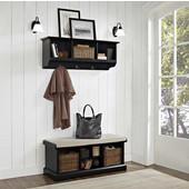 "Brennan 2 Piece Entryway Bench and Shelf Set in Black, 18-1/4''H x 42""W x 16-1/2""D, 15-1/2""H x 42""W x 11-1/4""D"