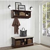 "Brennan 2 Piece Entryway Bench and Shelf Set in Mahogany, 18-1/4''H x 42""W x 16-1/2""D, 15-1/2""H x 42""W x 11-1/4""D"