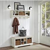 "Brennan 2 Piece Entryway Bench and Shelf Set in White, 18-1/4''H x 42""W x 16-1/2""D, 15-1/2""H x 42""W x 11-1/4""D"