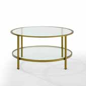 Aimee Coffee Table In Soft Gold, 35-7/8'' Diameter x 18'' H