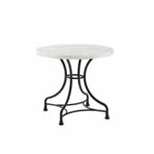 Madeleine 32'' French Industrial Round Dining Table in Matte Black with White Faux Marble Top, 32'' Diameter x 28-1/4'' H