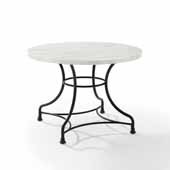 Madeleine 40'' French Industrial Round Dining Table in Matte Black with White Faux Marble Top, 40'' Diameter x 28-1/4'' H