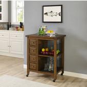 Sienna Kitchen Cart, Moroccan Pine Finish, 32'' W x 23-5/8'' D x 40-7/8''H