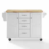 Elliott Kitchen Cart in White with Brushed Nickel Hardware and Solid Hardwood Top, 51-1/2'' W x 18'' D x 35-7/8'' H