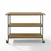 Brooke Modern Industrial Sturdy Steel Kitchen Cart with Wood Table Top in Washed Oak, 48-1/4'' W x 17-3/4'' D x 36'' H