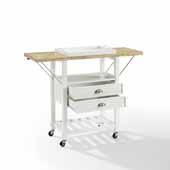 Bristol Double Drop Leaf Kitchen Cart In White, 45'' W x 15-1/8'' D x 35-1/4'' H