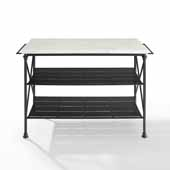 Madeleine French Industrial Kitchen Island in Matte Black White Faux Marble Table Top, 53-1/4'' W x 24'' D x 36'' H