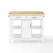 Audrey Wood Top Kitchen Island in White with Natural Solid Wood Top, Brushed Nickel Hardware and Two Towel Bars, 42'' W x 23-1/2'' D x 36'' H
