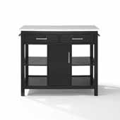 Audrey Kitchen Island in Black with White Faux Marble Top, Brushed Nickel Hardware and Two Towel Bars, 42'' W x 23-1/2'' D x 35-3/4'' H