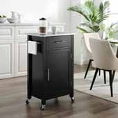 Savannah Compact Kitchen Island and Cart with Stainless Steel Top and Black Base, 22-1/4'' W x 15-3/4'' D x 37'' H