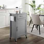 Savannah Compact Kitchen Island and Cart with Stainless Steel Top and Gray Base, 22-1/4'' W x 15-3/4'' D x 37'' H