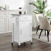 Savannah Compact Kitchen Island and Cart with Stainless Steel Top and White Base, 22-1/4'' W x 15-3/4'' D x 37'' H