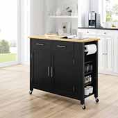 Savannah Full-Size Kitchen Island and Cart with Natural Wood Top and Black Base, 42'' W x 18-1/4'' D x 37'' H