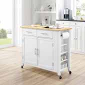 Savannah Full-Size Kitchen Island and Cart with Natural Wood Top and White Base, 42'' W x 18-1/4'' D x 37'' H