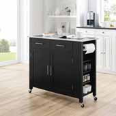 Savannah Full-Size Kitchen Island and Cart with Stainless Steel Top and Black Base, 42'' W x 18-1/4'' D x 37'' H