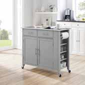Savannah Full-Size Kitchen Island and Cart with Stainless Steel Top and Gray Base, 42'' W x 18-1/4'' D x 37'' H